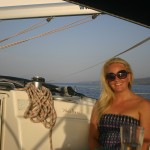 Claire enjoying the sunset cruise, Split, Croatia