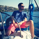 Guest relaxing and enjoying the view, while sailing around Split and isalnds, Croatia