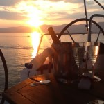 Champagne sunset sailing, near Split, Croatia