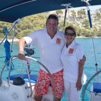 Skipper and hostess at Nera's helm, Split, Croatia